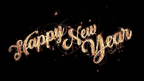 Happy New Year Text with glitter and sparks isolated on black background, Celebration magic background with beautiful typography.