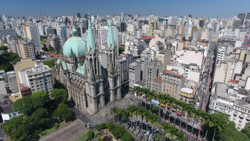 São Paulo, São Paulo / Brazil - 12/15/2018: Drone view of the Sé Square and the Metropolitan Cathedral of São Paulo - inaugurated in 1954 - in front of the Marco Zero marble monument #1021112611