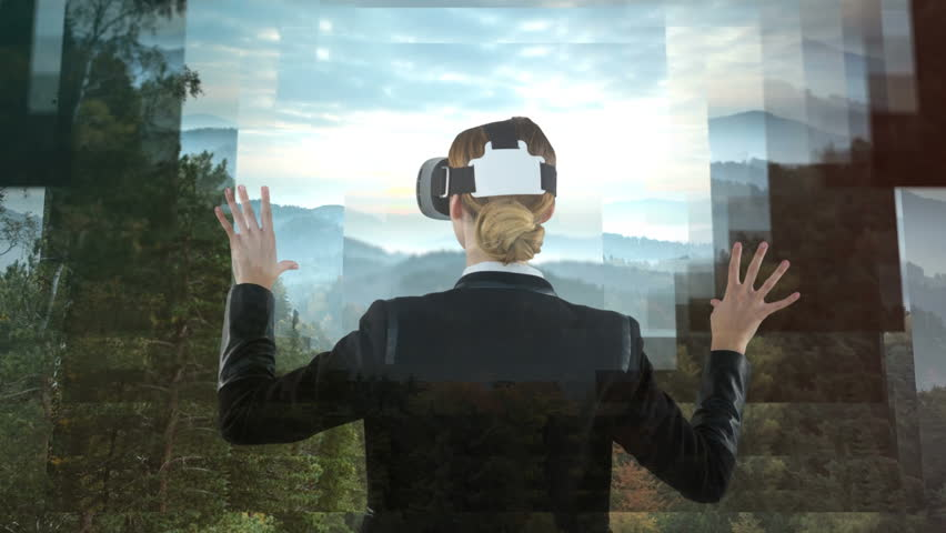Businesswoman using VR against animated forest landscape background #1021127851