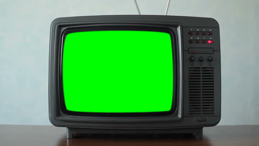 Old TV with a green screen in the room | Shutterstock HD Video #1021217971