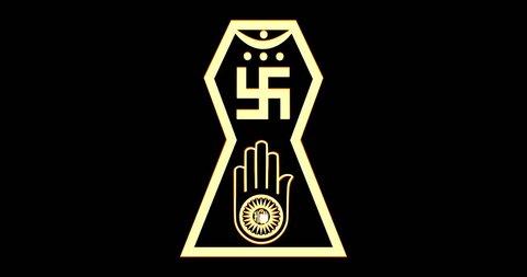 Flashing symbol of jainism religion. 4k video animation.