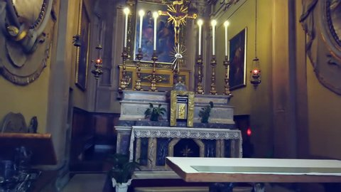 LUGO (RA), ITALY - DECEMBER 22, 2018: lights are enlightening altar of the church of the Pius Suffrage