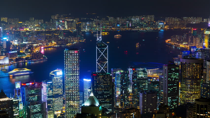 Hong Kong from Victoria Peak night timelapse | Shutterstock HD Video #10214621