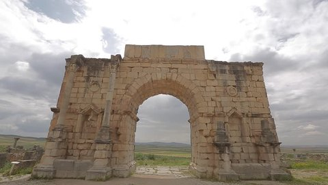 A construction in the ancient city of volubilis built by the ancient greeks in Morocco