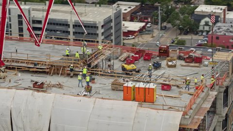 North Carolina Raleigh Aerial Rotating around building construction close up 10/17