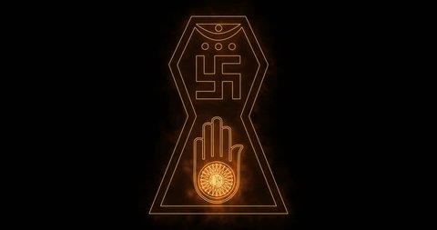 Glowing symbol of jainism religion