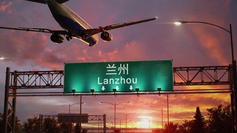 Airplane Landing at Lanzhou during a wonderful sunrise