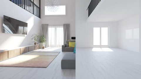 animation repair in a modern two-level apartment in the Scandinavian style. spacious interior of living room combined with kitchen-dining room.