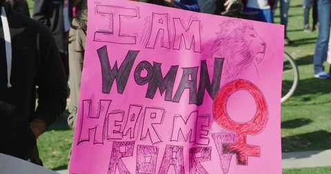 Protest signs at Women's march in Los Angeles, California. January 2018