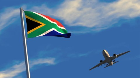 3D animation of a jet airliner flying over South African flag waving on a flagpole.