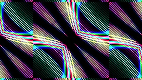 Animated multicolored diagonal kaleidoscope of fast-changing psychedelic patterns on a black background with color displacement, flashes and glows.