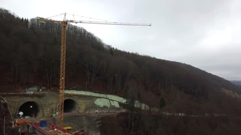 Aerial of complex new railway bridge construction between two tunnels in the Swabian Alps between Stuttgart and Ulm in Germany