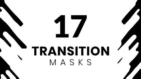 17 paint transition masks for slideshow. Animated fluid shape.