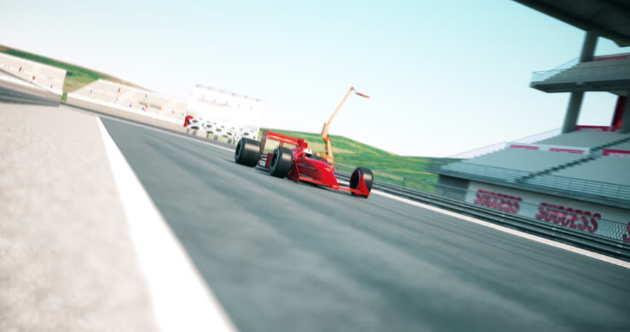 Racing car crossing finish line and winning the race. High quality 3d animation | Shutterstock HD Video #1021960921