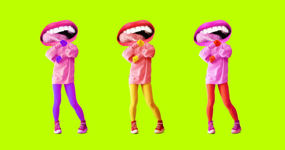 Motion design art. Funny dancing licking Lips. Gif minimal Set | Shutterstock HD Video #1021997491