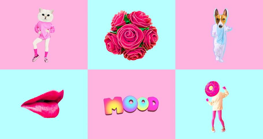 Minimal animatiom design. Gif set Candy Pink Vanilla mood. | Shutterstock HD Video #1021997521