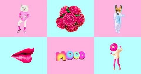 Minimal animatiom design. Gif set Candy Pink Vanilla mood.