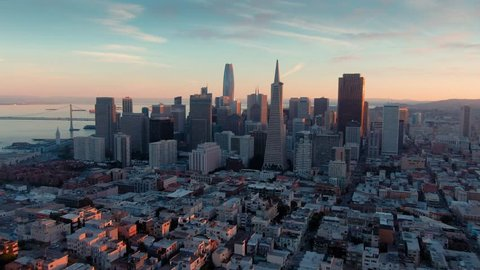 Aerial Drone Of The San Francisco City Skyline at sunset