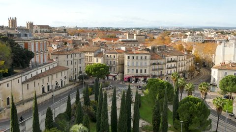View on Montpellier. It is a city in southern France and the capital of the Hérault department. Located near the south coast of France on the Mediterranean Sea. Filmed in december. Daylight.