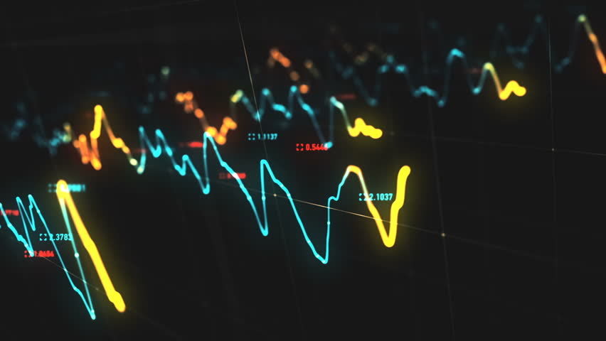 Animation growth of abstract charts with changing values of check points on dark background. Animation of seamless loop.   Shutterstock HD Video #1022110291