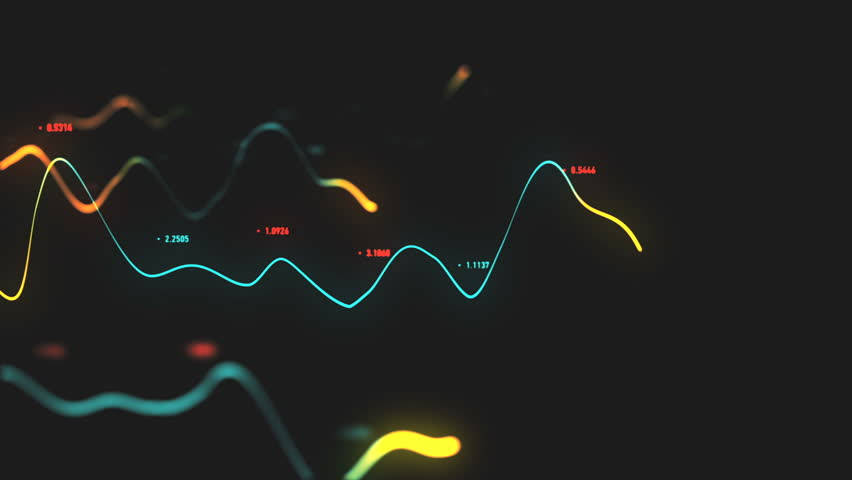 Animation growth of abstract charts with changing values of check points on dark background. Animation of seamless loop.   Shutterstock HD Video #1022110351