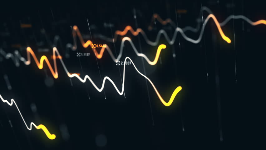 Animation growth of abstract charts with changing values of check points on dark background. Animation of seamless loop.   Shutterstock HD Video #1022110411