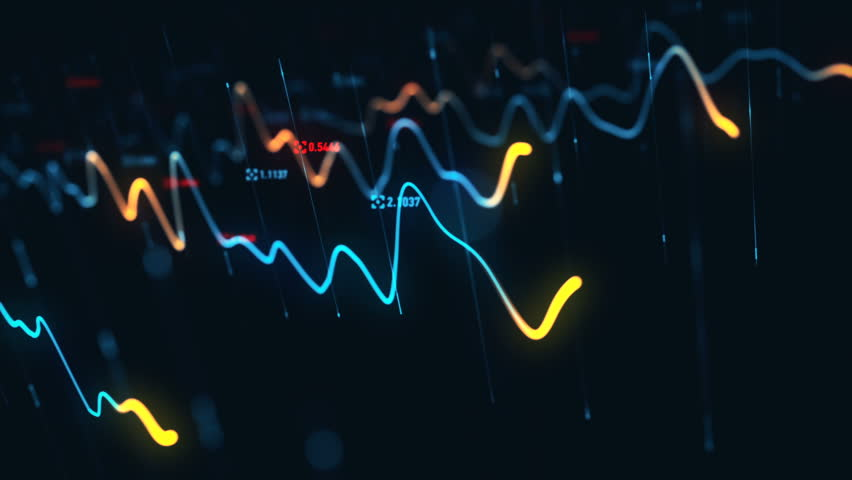 Animation growth of abstract charts with changing values of check points on dark background. Animation of seamless loop.   Shutterstock HD Video #1022111161