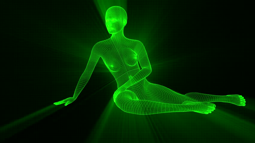 4K Futuristic Wireframe Android AI Shine Woman Sitting Seamless Loop | Shutterstock HD Video #1022139091