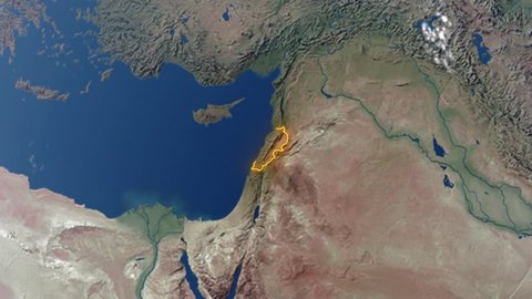 Realistic 3d animated earth showing the borders of the country Lebanon and the capital Beirut in 4K resolution