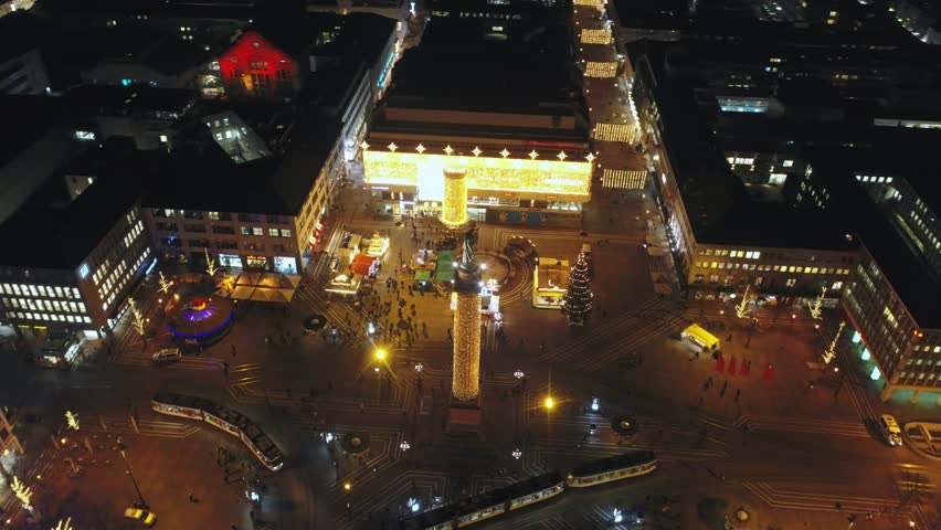 Aerial view: Darmstadt at night. Central square of Louise, 4k | Shutterstock HD Video #1022181541
