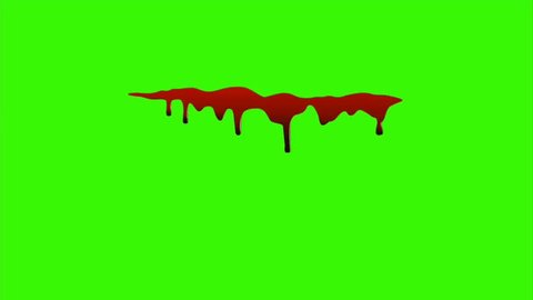 Type O - Red ink dripping over green screen background. Blood Close-up shot