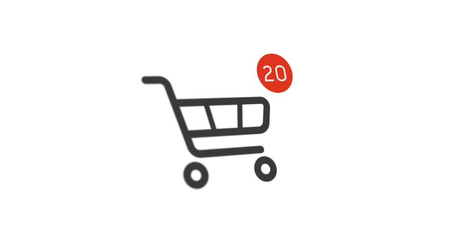 Animation shopping cart icon with counter added online commodity on white background. 4k footage with alpha matte | Shutterstock HD Video #1022298661