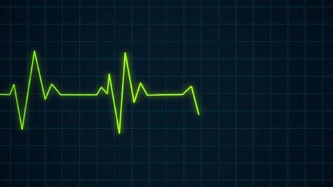 Green heartbeat pulse rhythm on electrocardiogram, healthcare concept ECG or EKG cardiology