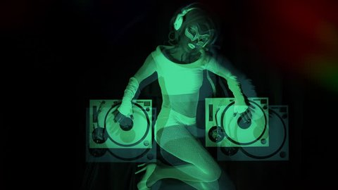 sexy female DJ mixes in a club in UV fluorescent costume. stylish,  cool and unique clip for events, parties and shows