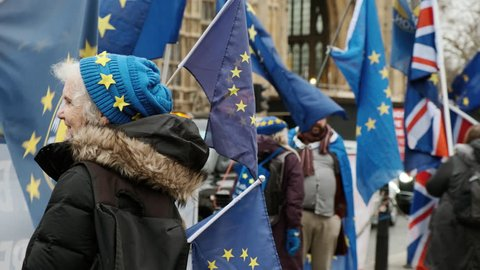 LONDON, circa 2019 - Close-up shot of Pro-EU Remainers waving flags in front of the Westminster Parliament in London, UK in a bid to stop BREXIT