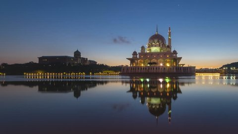 Sunset Time Lapse at a Mosque by a lake in Putrajaya, Malaysia.