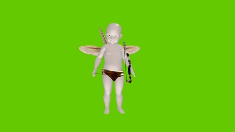 animated cartoon Cupid with bow and arrow on a green screen
