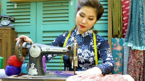 Charming Vietnamese Girl In Traditional Stock Footage Video 100