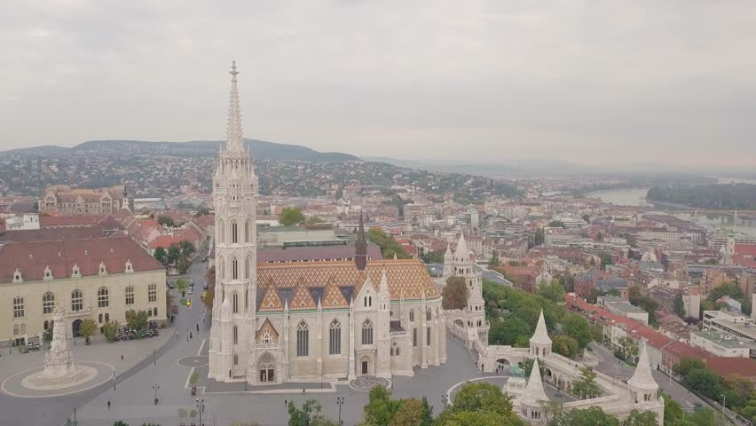 Aerial drone footage of the fisherman's bastion and the matthias church in budapest at sunset | Shutterstock HD Video #1022568181