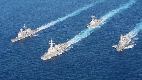 CIRCA 2010s - U.S. Navy, JMSDF Concludes MultiSail