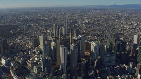 Tokyo, Japan circa-2018. Aerial view of Shinjuku downtown area. Shot from helicopter with RED camera.