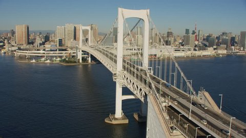 Tokyo, Japan circa-2018. Aerial view of Rainbow Bridge in Tokyo, Japan. Shot from helicopter with RED camera.