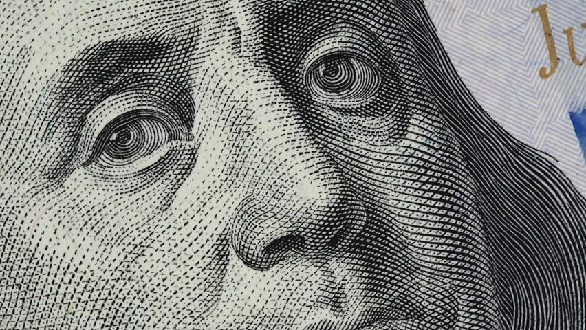 Benjamin Franklin on US 100 dollar bill slow rotating. Stock video footage | Shutterstock HD Video #1022627251