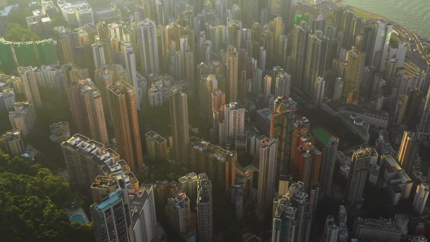 Fly over Urban city scene around Victoria peak and Victoria Harbour with Day light, Hong Kong Transportation, 4k high resolution video | Shutterstock HD Video #1022637751