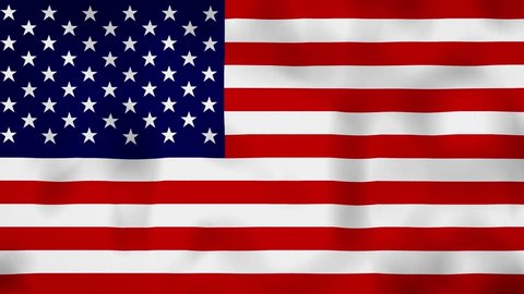 United States USA flag on the wind, animated in 4k. Great background for motion design and animations or text. Flag calmly waving on the wind.