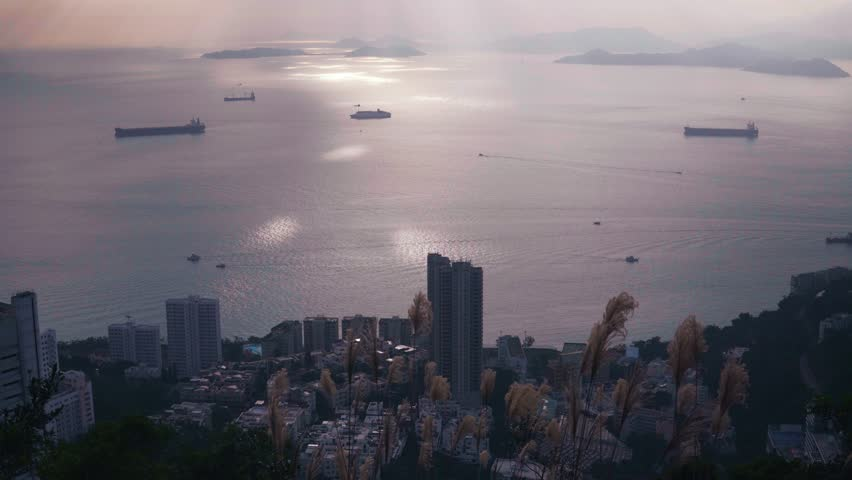 Hong Kong city. Beautiful view from end of nice trail. | Shutterstock HD Video #1022688961