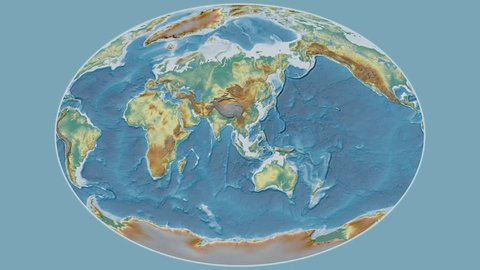 Cambodia area presented against the global relief map in the Patterson Cylindrical projection with animated oblique transformation
