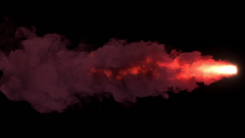 Colored torch fire with sparks and smoke. Separated on pure black background, contains alpha channel.