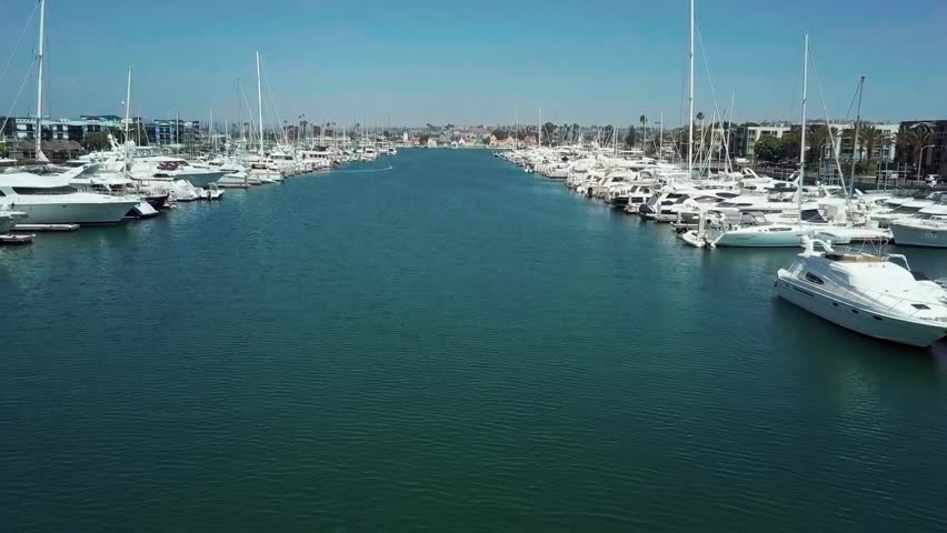 Aerial view of Marina del Rey, Los Angeles moored boats   Shutterstock HD Video #1022802721