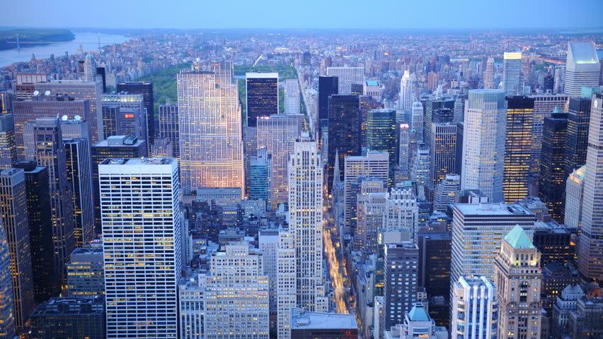 Time Lapse Aerial View of New York City Skyline Midtown Manhattan Dusk to Night